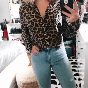Leopard cheetah long sleeve button up blouse top